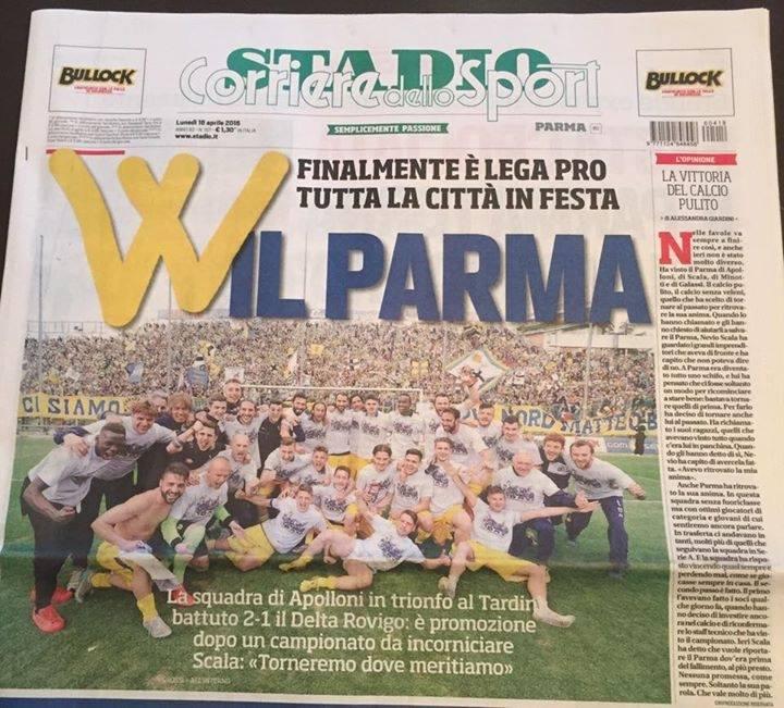Prima Pagina Stadio Promozione Parma Calcio